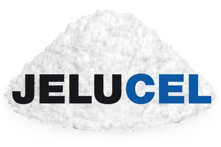 White powder with JELUCEL® logo from the cellulose manufacturer JELU-WERK