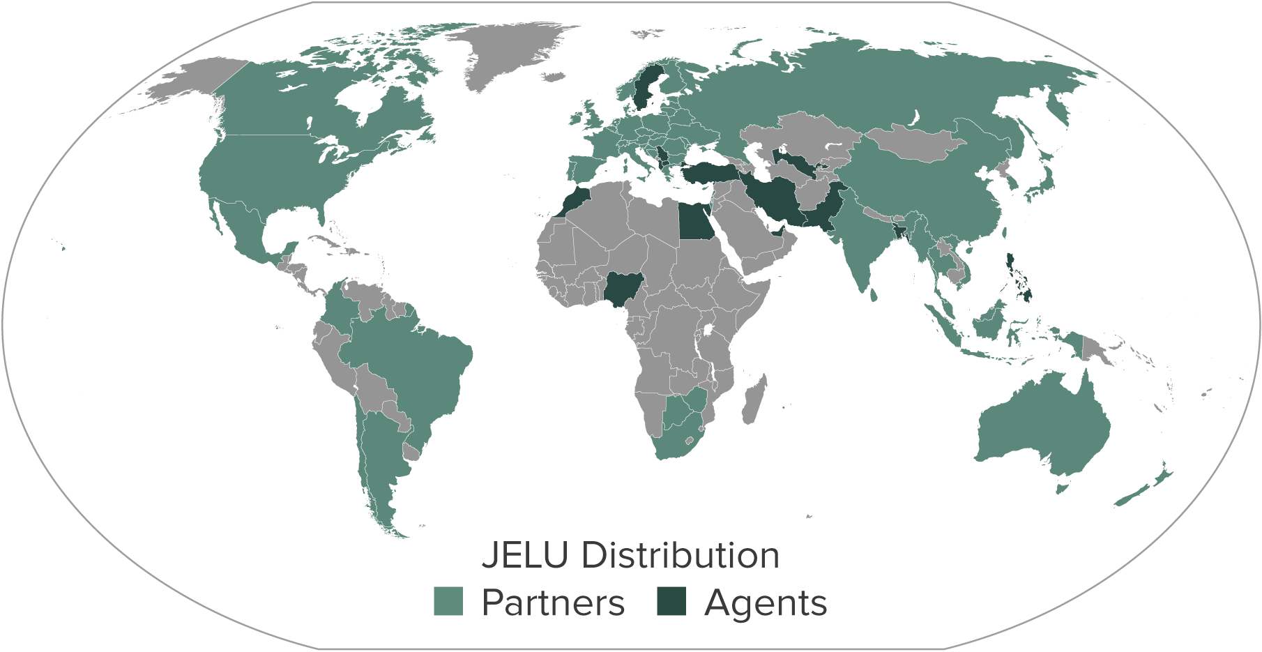 Map of international sales and distribution partners